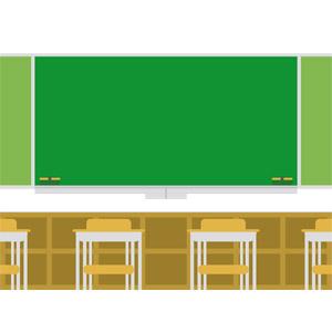 フリーイラスト, ベクター画像, EPS, 学校, 教室, 黒板, 勉強机, ロッカー