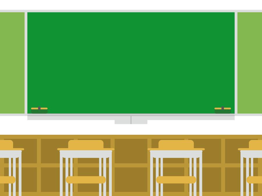 フリー イラスト教室と黒板とロッカー