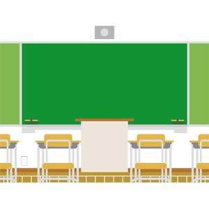 フリーイラスト, ベクター画像, EPS, 学校, 教室, 黒板, 勉強机, 教卓