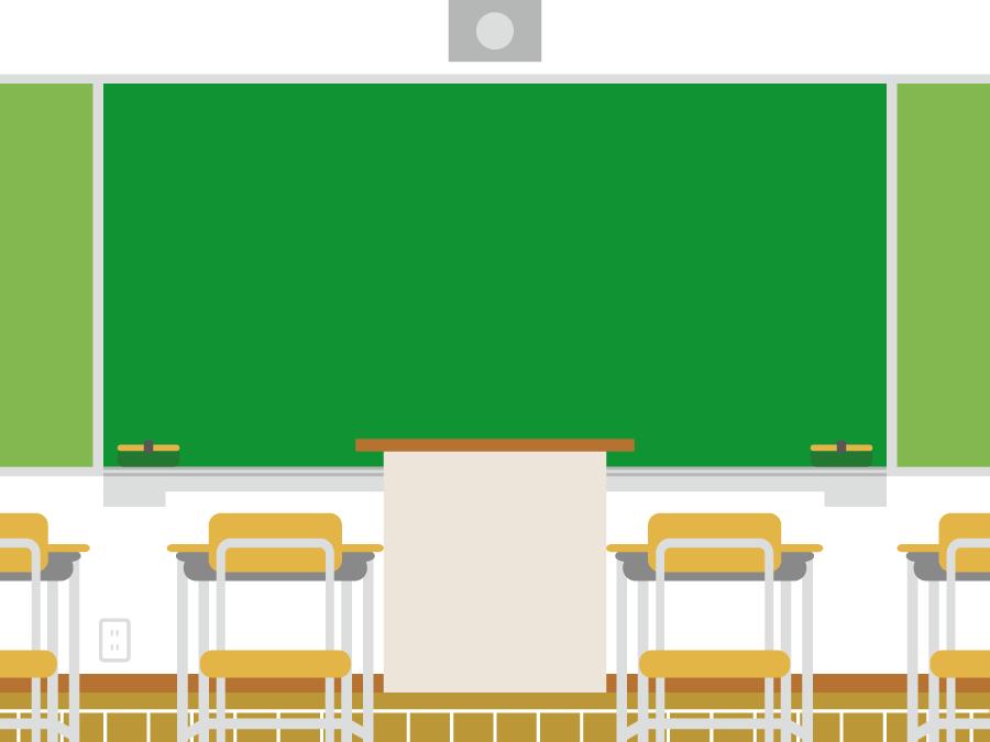 フリー イラスト教室と黒板と教壇