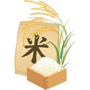 フリーイラスト, ベクター画像, AI, 食べ物(食料), お米, 稲穂, 稲(イネ), 秋, 升, 米袋