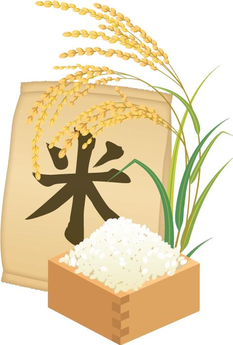 フリー イラスト新米と稲穂と米袋