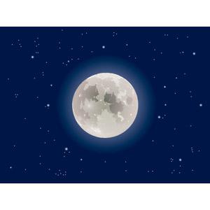 フリーイラスト, ベクター画像, EPS, 風景, 自然, 空, 夜空, 月, 満月