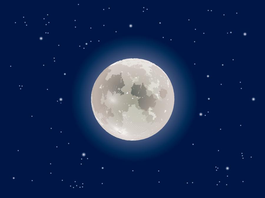フリー イラスト夜空の月の風景