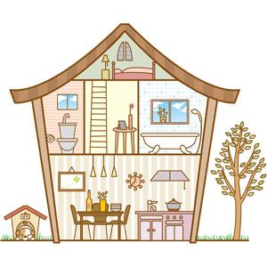 フリーイラスト, ベクター画像, EPS, 建築物, 建造物, 家(一軒家), 犬(イヌ), 犬小屋, マイホーム, 住宅