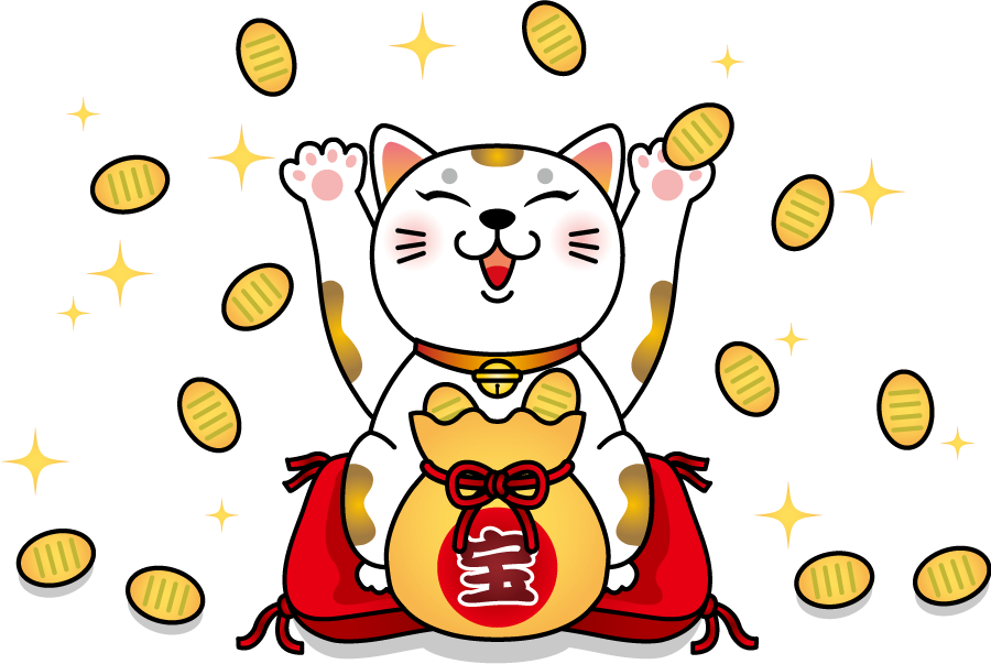 フリー イラスト小判をと喜ぶ招き猫
