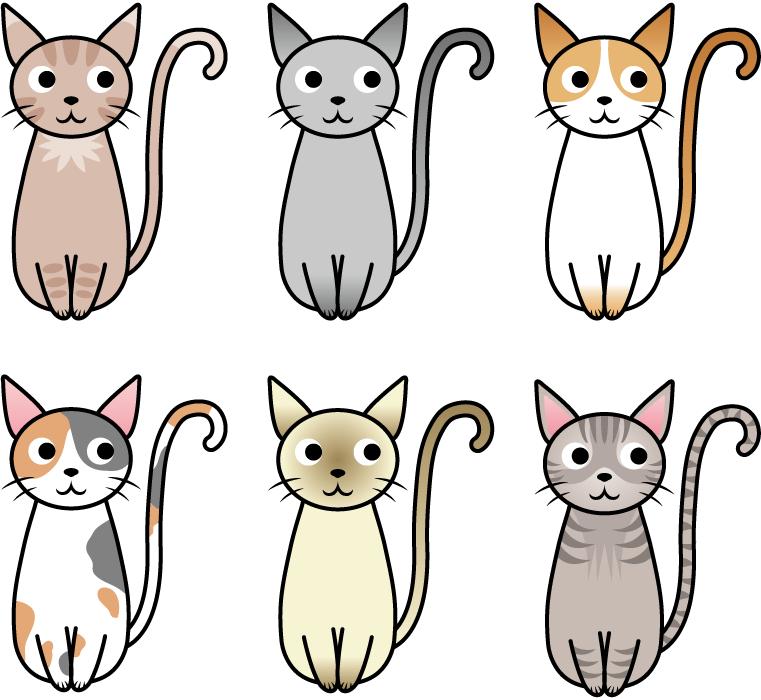 フリー イラスト色々な種類の猫