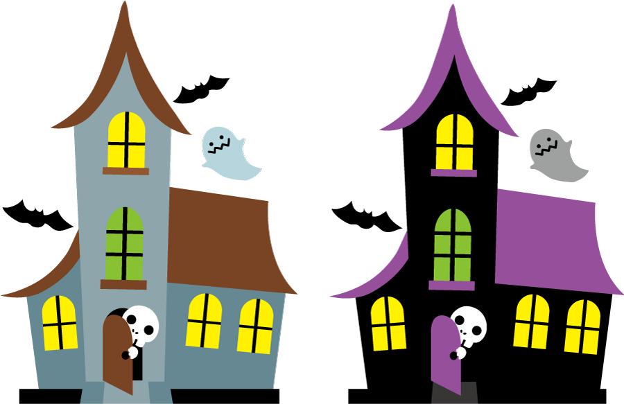 フリー イラスト死神とお化けとコウモリのいるお化け屋敷