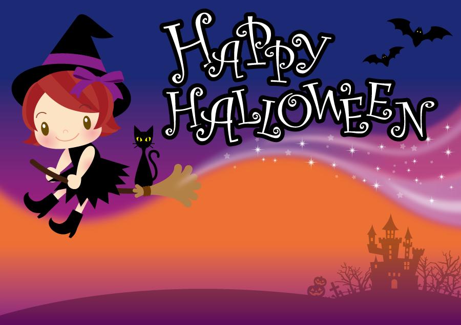 フリー イラスト空を飛ぶ魔女とハロウィンの背景