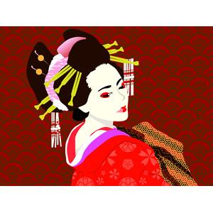 フリーイラスト, ベクター画像, EPS, 人物, 女性, アジア人女性, 日本人, 花魁(おいらん), 遊女, 着物, 和柄