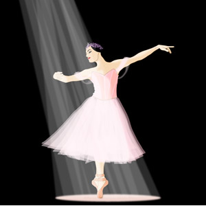 フリーイラスト, ベクター画像, EPS, 人物, 女性, バレエ, バレリーナ, つま先立ち, 踊る(ダンス), スポットライト