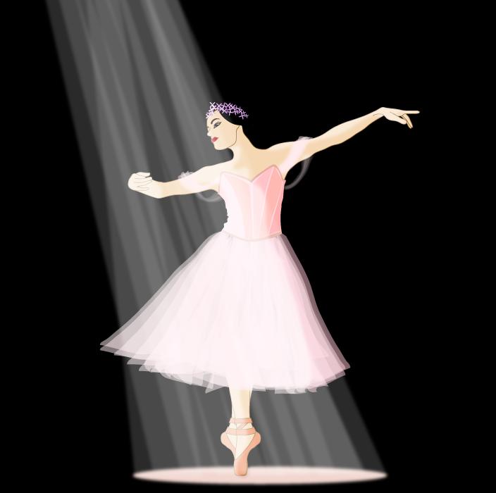 フリー イラストスポットライトを浴びて踊るバレリーナ