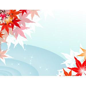 フリーイラスト, ベクター画像, EPS, 背景, 植物, 葉っぱ, もみじ(カエデ), 紅葉(黄葉), 秋, 水, 波紋