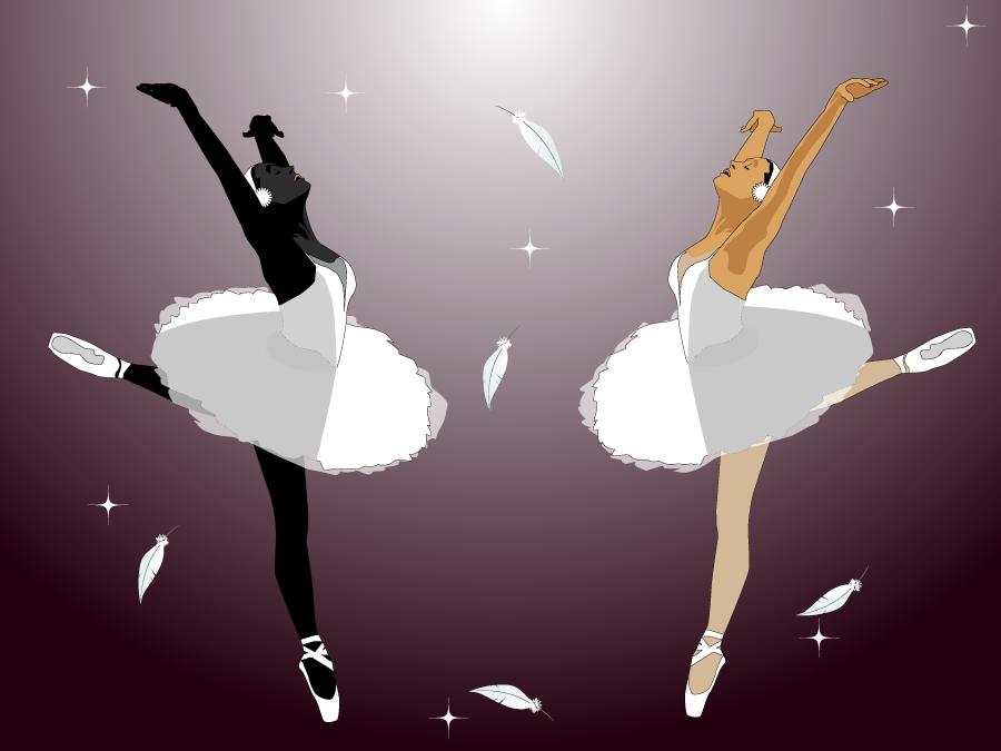 フリー イラスト白鳥の湖を踊る二人のバレリーナ