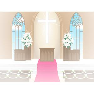 フリーイラスト, ベクター画像, EPS, 建造物, 風景, 教会(聖堂), 結婚式(ブライダル)