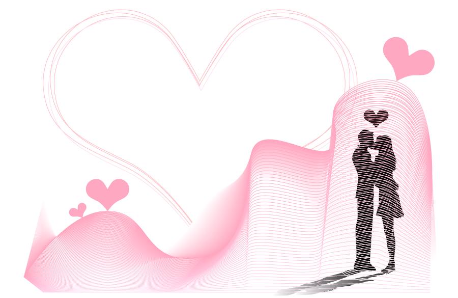 フリー イラストキスをするカップルとハートの背景