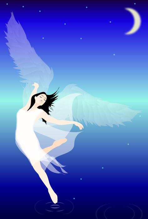フリー イラスト月夜に舞う天使