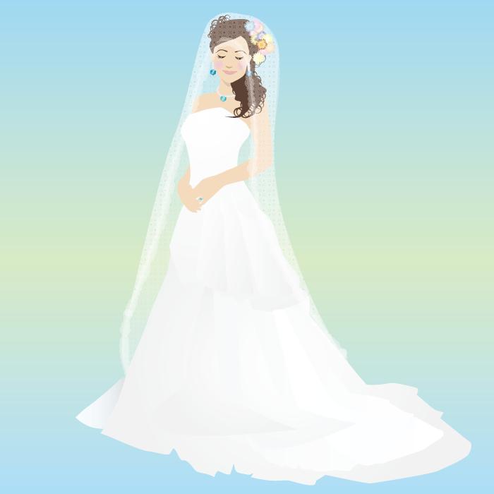フリー イラストウェディングドレス姿の花嫁