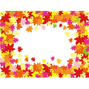 フリーイラスト, ベクター画像, EPS, 背景, フレーム, 囲みフレーム, 植物, 葉っぱ, 落葉(落ち葉), もみじ(カエデ), 紅葉(黄葉), 秋