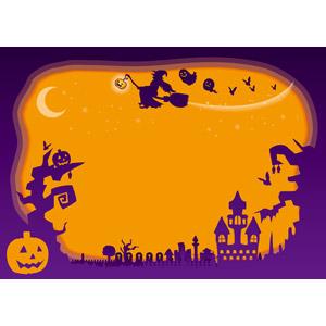 フリーイラスト, ベクター画像, AI, 背景, フレーム, 囲みフレーム, 年中行事, ハロウィン(ハロウィーン), 10月, 秋, ジャック・オー・ランタン, 魔女, お化け屋敷, 墓地