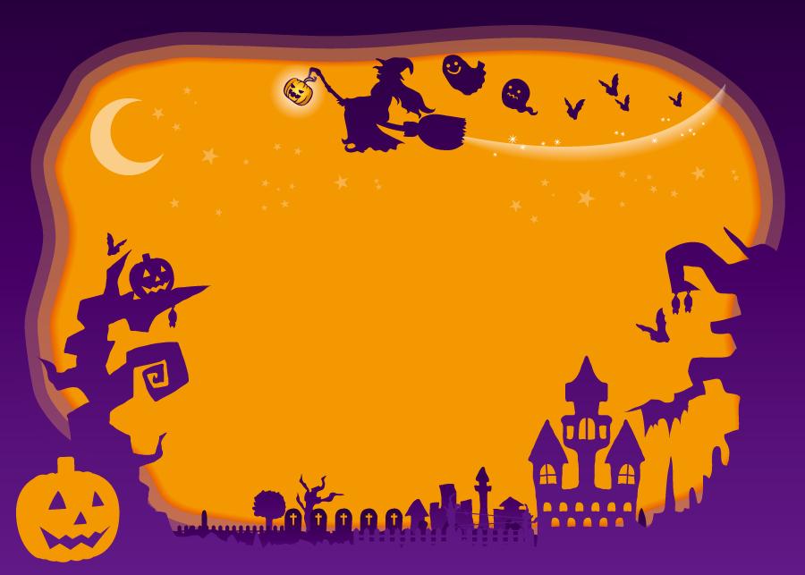 フリー イラスト空飛ぶ魔女とハロウィンのフレーム