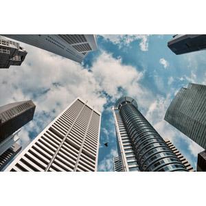 フリー写真, 風景, 建造物, 建築物, 都市(都会), 高層ビル, 雲, 空, シンガポール