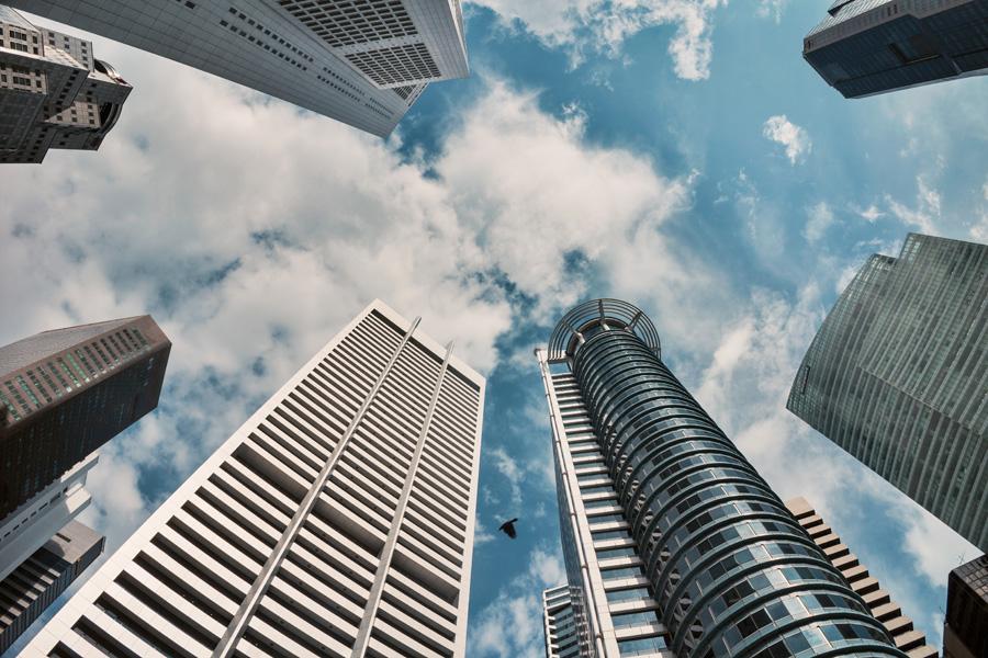 フリー 写真シンガポールのオフィスビル群の風景