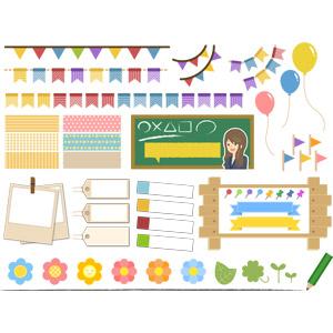 フリーイラスト, ベクター画像, AI, 旗(フラッグ), フラッグガーランド, 黒板, 掲示板, 風船, ポラロイド写真, 付箋(ポストイット), 下げ札(タグ), 花, 植物, 鉛筆(えんぴつ), 風船