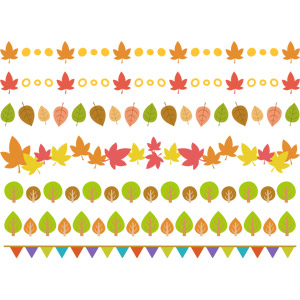 フリーイラスト, ベクター画像, AI, 旗(フラッグ), フラッグガーランド, 秋, 樹木, 葉っぱ, 紅葉(黄葉), もみじ(カエデ), 飾り罫線(ライン)