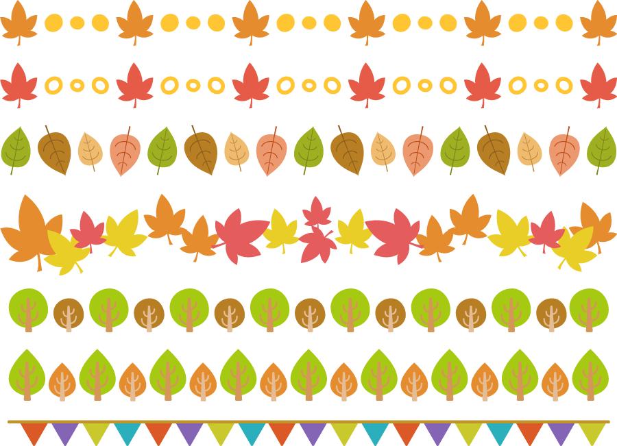 フリー イラスト秋の様々なラインセット