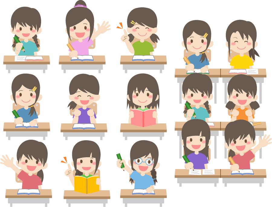 フリー イラスト授業中の女子生徒たち