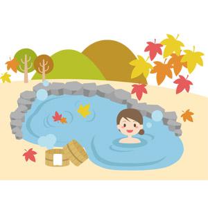 フリーイラスト, ベクター画像, AI, 風景, 山, 葉っぱ, 落葉(落ち葉), もみじ(カエデ), 紅葉(黄葉), 秋, 露天風呂, 温泉, 女性, 入浴