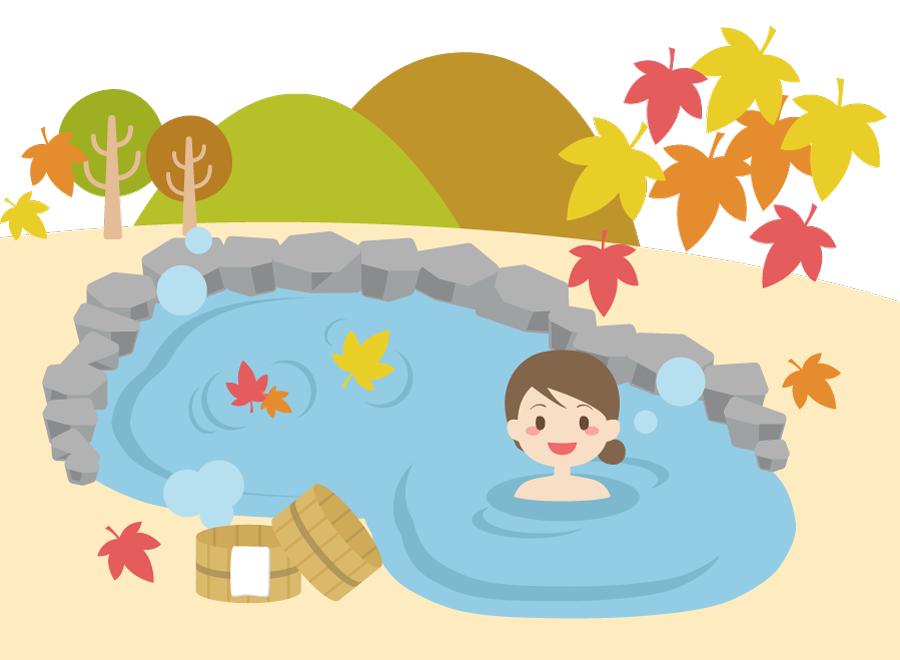フリー イラスト秋の風景と露天風呂に入る女性
