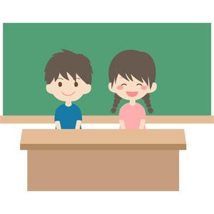 フリーイラスト, ベクター画像, AI, 人物, 子供, 男の子, 女の子, カップル, 学生(生徒), 小学生, 学校, 教室, 黒板, 教卓