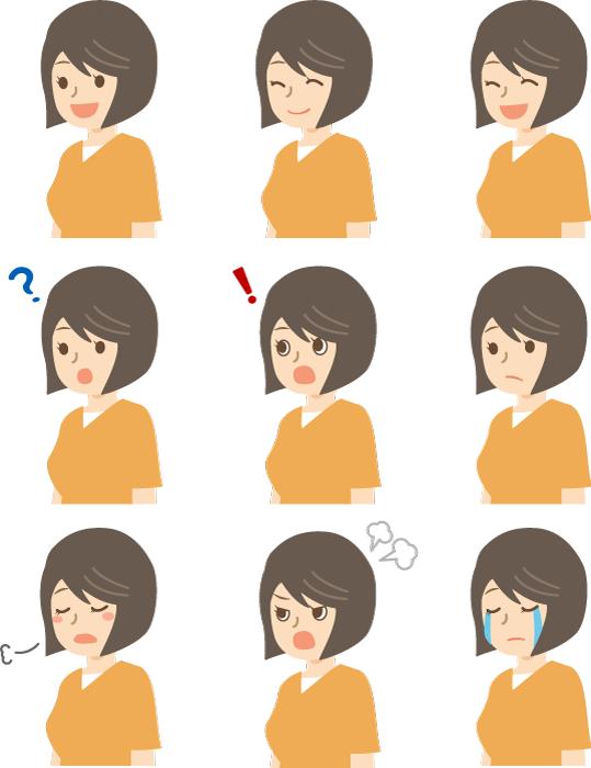フリー イラスト様々な女性の表情のセット