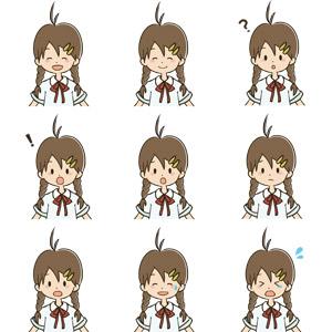 フリーイラスト, ベクター画像, AI, 人物, 少女, 学生(生徒), 中学生, 高校生, 学生服, 笑う(笑顔), 分からない, 驚く, 気が付く, 泣く(泣き顔), 冷や汗をかく, 困る, 泣く(泣き顔)