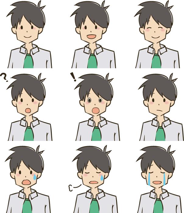 フリー イラスト色々な表情のサラリーマン