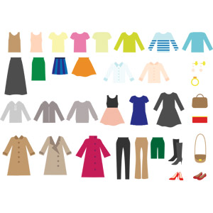 フリーイラスト, ベクター画像, AI, 衣服(衣類), レディースファッション, コート, ズボン(パンツ), ワンピース, パーカー, 寝間き(パジャマ), スカート, Tシャツ, タンクトップ, 指輪(リング), 鞄(カバン), ハイヒール, ピアス, ブーツ