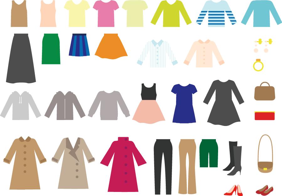 フリー イラストレディースウェアとファッションアイテムのセット