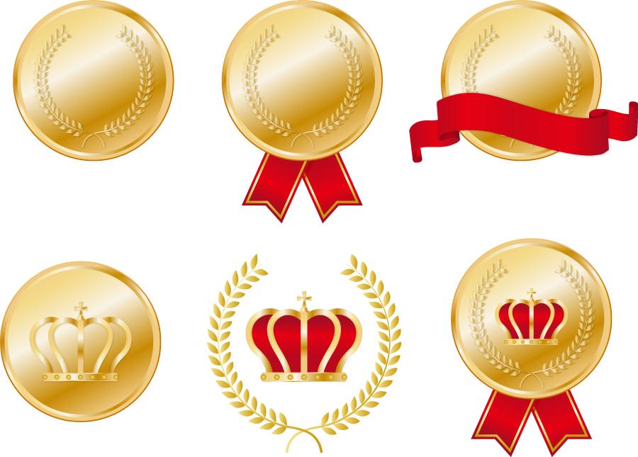 フリー イラスト色々な金メダル