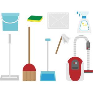 フリーイラスト, ベクター画像, AI, 掃除(清掃), 掃除用具, 掃除機, 塵取り(ちりとり), 箒(ほうき), フローリングモップ, バケツ, スポンジ, 雑巾(ぞうきん), 掃除用洗剤, はたき