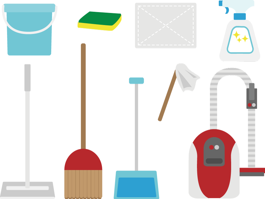 フリー イラスト色々な掃除用具セット