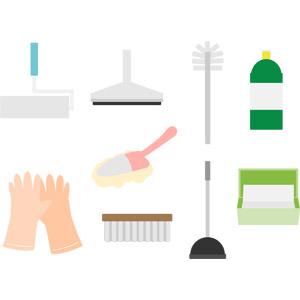 フリーイラスト, ベクター画像, AI, 掃除(清掃), 掃除用具, コロコロ(粘着クリーナー), スクイジー, トイレ用洗剤, ラバーカップ(スッポン), ゴム手袋, 掃除用ブラシ, ハンディモップ, トイレブラシ