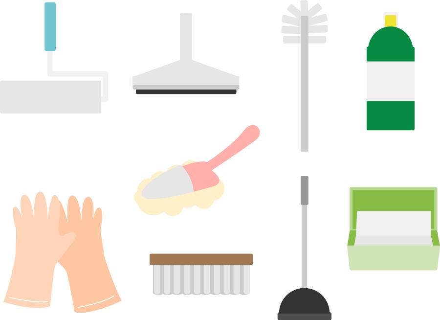 フリー イラスト様々な種類の掃除用具セット