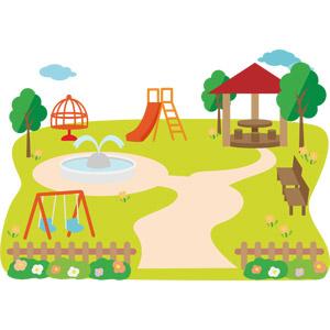 フリーイラスト, ベクター画像, AI, 風景, 公園, 遊具, ブランコ, ベンチ, 東屋(四阿), 回転ジャングルジム, 噴水