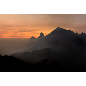 フリー写真, 風景, 自然, 霧(霞), 早朝, 朝焼け, 山