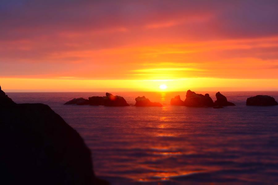 フリー 写真海と夕日の風景