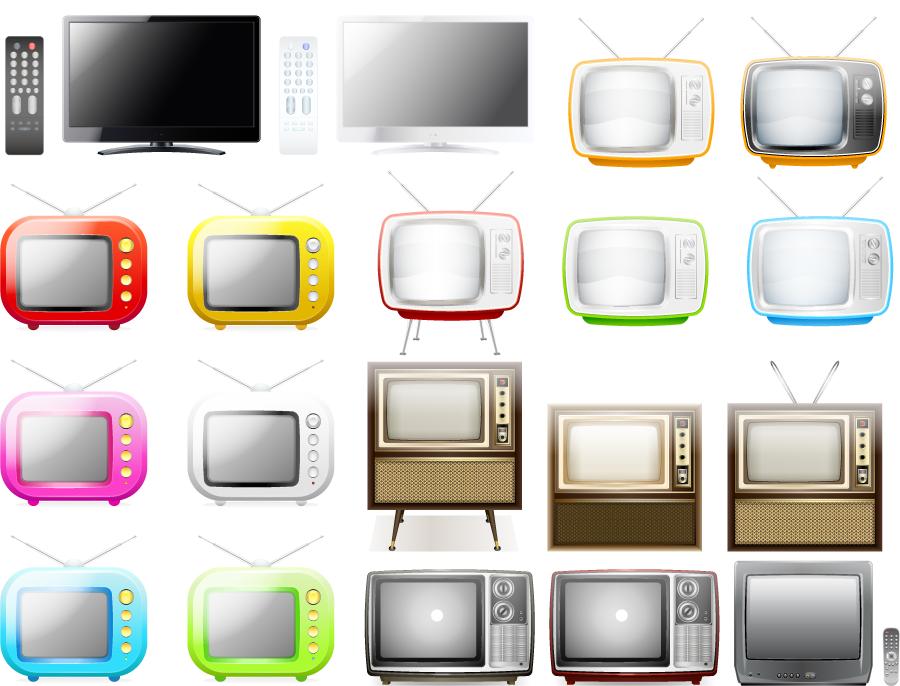 フリー イラスト液晶テレビとブラウン管テレビのセット