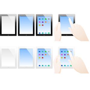 フリーイラスト, ベクター画像, AI, 家電機器, パソコン(PC), タブレットPC, アップル(Apple), iPad, タッチ操作