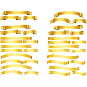 フリーイラスト, ベクター画像, AI, リボン, 帯リボン, 金色(ゴールド), 飾り(装飾)
